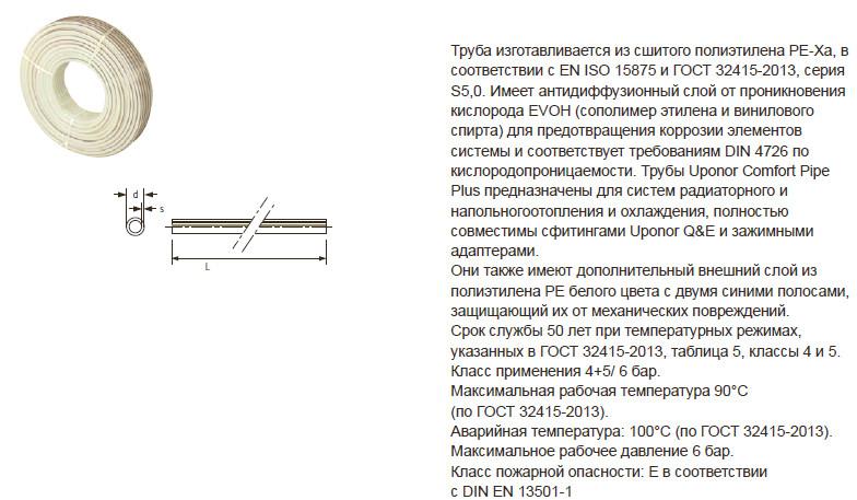 Характеристики на трубу Uponor Comfort Pipe Plus 16 x 2,0 6 бар PE-Xa 1009228