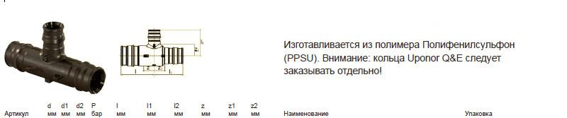 Характеристики uponor 1042863