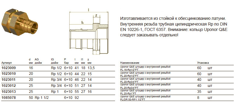 Размеры на uponor 1023011