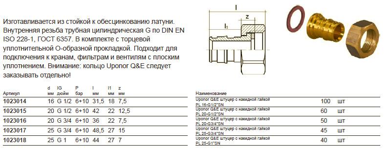 Размеры на uponor 1023015