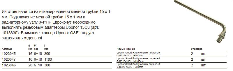 Размеры на uponor 1023047
