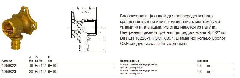 Размеры на uponor 1059823