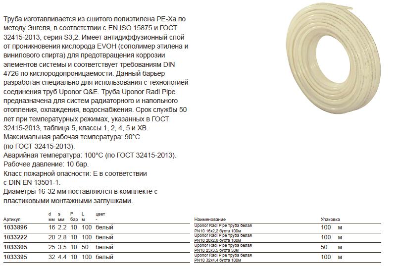 Характеристики на трубу Uponor Radi pipe  10 бар PE-Xa 1033305