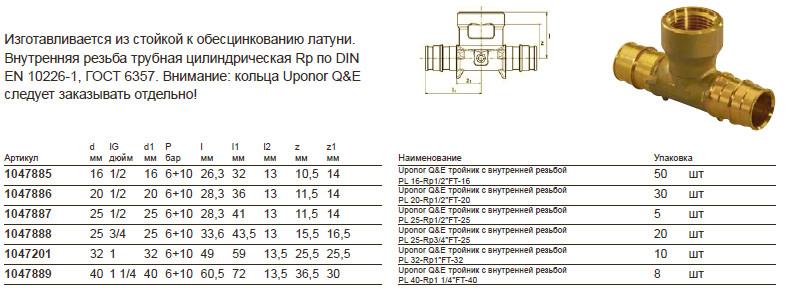 Характеристики uponor 1047885
