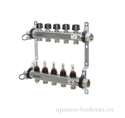 Uponor Smart S коллектор с расходомерами стальной, выходы 5x3/4 Евроконус Артикул 1086541