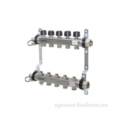 Uponor Smart S коллектор с клапанами стальной, выходы 6x3/4 Евроконус Артикул 1088049