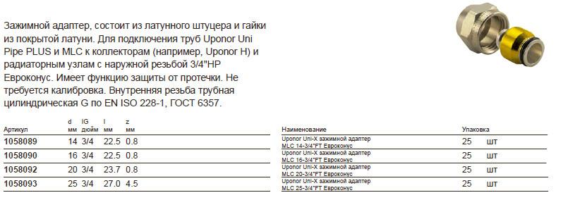 Размер на Uponor 1058089
