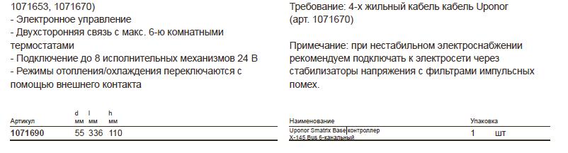 размеры Uponor Smatrix- Base 1071690
