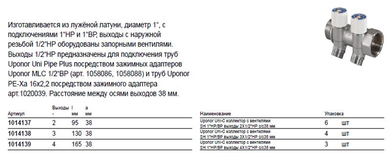 Размеры на Uponor 1014138