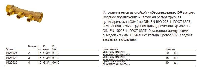 Размеры на Uponor 1023029