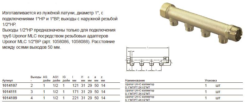 Размеры на Uponor 104107