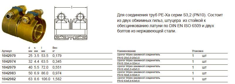 Размеры на Uponor 1042974