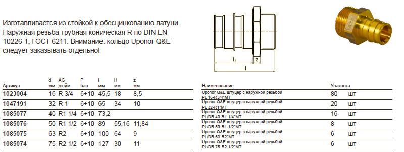 Размеры на uponor 1023004