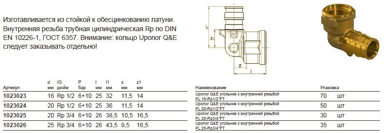 Размеры на uponor 1023024